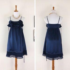 MINT by JODI ARNOLD Navy Silk Ruffle Front Dress 2